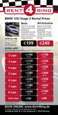 2015 nurburgring rental prices
